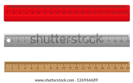 rulers made �¢??�¢??of plastic wooden and metal vector illustration isolated on white background