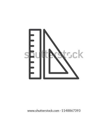 Rulers outline icon. linear style sign for mobile concept and web design. Measurement and triangle ruler simple line vector icon. Symbol, logo illustration. Pixel perfect vector graphics