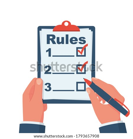 Rules concept. Businessman holding in hand clipboard with regulations. Checklist with requirements. Rule list on blank. Vector illustration flat design. Isolated on white background. Сток-фото ©