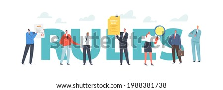 Rules Concept. Characters Read Business Laws, Regulations and Standards, Ethical Practices, Terms of Firm. Corporate Compliance Rules, Poster, Banner or Flyer. Cartoon People Vector Illustration ストックフォト ©