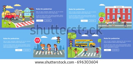 Rules for pedestrians collection of safety posters with inscriptions. Cartoon style vector illustration of cheerful students on road