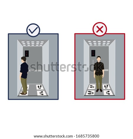 Rules to prevent spread of the epidemic coronavirus in the elevator. Social  distancing footprints in elevators in the business center. Keep Zone and Set Position in Elevator (Lift) .
