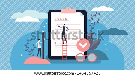 Rules vector illustration. Flat tiny regulations checklist persons concept. Restricted graphic writing with law information. Society control guidelines and strategy for company order and restrictions.