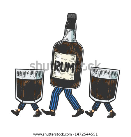 rum alcohol bottle with ice and