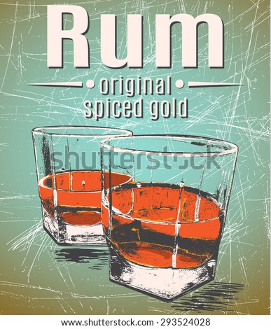 rum in glasses on grunge