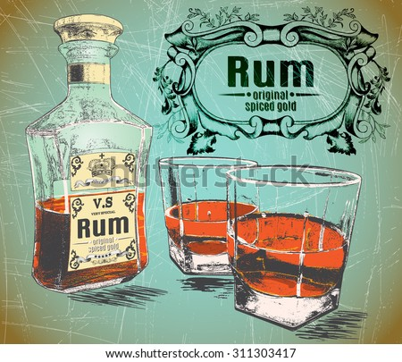 rum was pour in two glasses...
