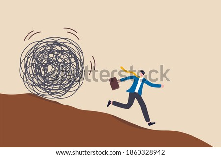 Run away from trouble, avoid from working stress, conflict with people or escape from financial problem or economic crisis concept, fear businessman running away from trouble circle.