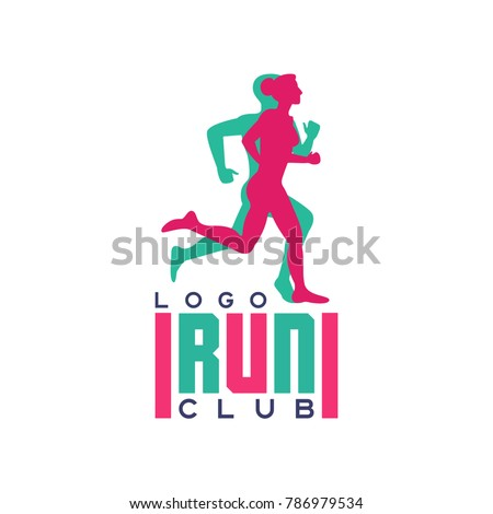 Run club logo, emblem with abstract running people silhouettes, label for sports club, sport tournament, competition, marathon and healthy lifestyle vector illustration