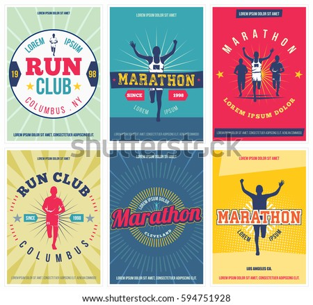 run club posters set. marathon...