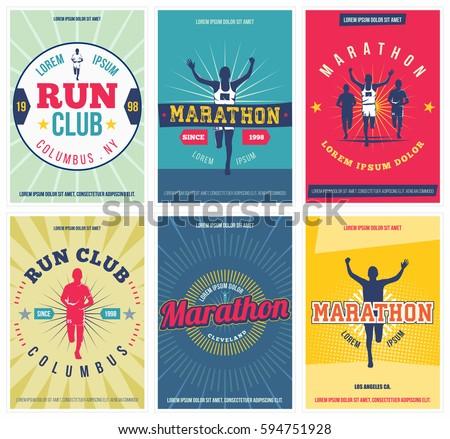 run club posters set. marathon...