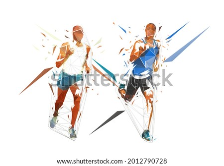 Run. Low polygonal running men, isolated geometric vector illustration from triangles. Group of runners