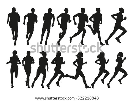 run set of silhouettes of