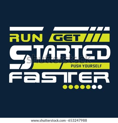 run sport athletic typography