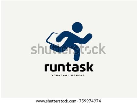 Run Task Logo Template Design. Creative Vector Emblem for Icon or Design Concept