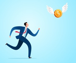 Run to chase flying money in the sky. Business concept illustration.