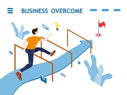 Run young man run jumping, along the directional arrow. Business overcame obstacles problems and barriers for success to finish. Vector illustration flat cartoon style poster, banner isolated