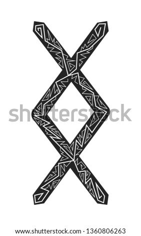 Rune Ingwaz. Ancient Scandinavian runes. Runes senior futarka. Magic, ceremonies, religious symbols. Predictions and amulets. Ornament lightning. White background, black runes and white ornament