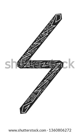 Rune sowulo. Ancient Scandinavian runes. Runes senior futarka. Magic, ceremonies, religious symbols. Predictions and amulets. Ornament lightning. White background, black runes and white ornament