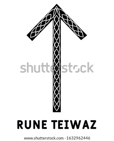 Rune Teiwaz. Ancient Scandinavian runes. Runes senior futarka. Magic, ceremonies, religious symbols. Predictions and amulets. Ornament lightning. White background, black runes and white ornament