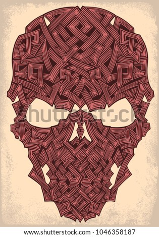 runed skull hand drawn