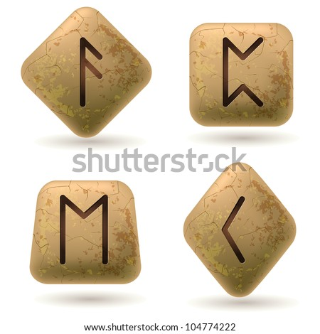 runes engraved on stone set