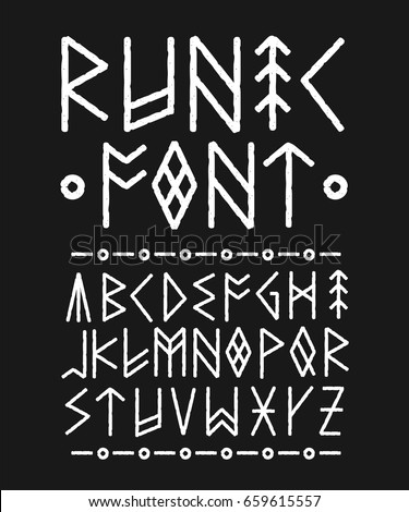 runic hand drawn font vector