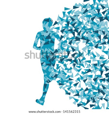 Runner abstract blue vector background, woman made of fragments