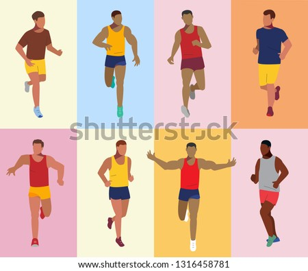 Runner athlete set. Sport running competition. Group of sportsmen. Marathon vector illustration.
