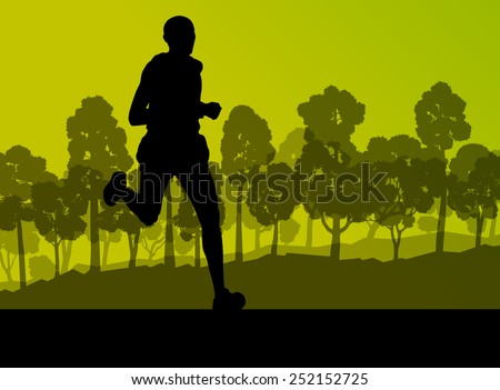 runner in forest landscape