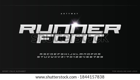 Runner letters with blade steel texture. Sport style alphabet for modern speed logo, dynamic poster headline, action typographic. Vector typography design on black background. Foto stock ©