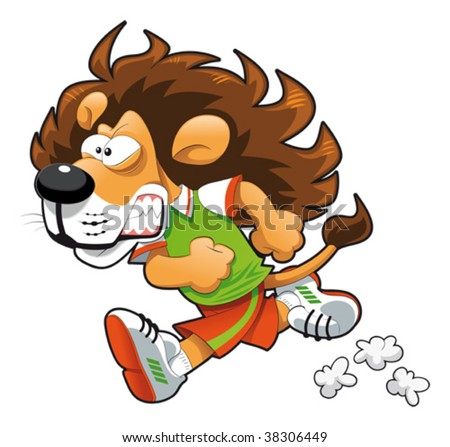 Lion Cartoon Character on Stock Vector   Runner Lion  Funny Cartoon And Vector Sport Character