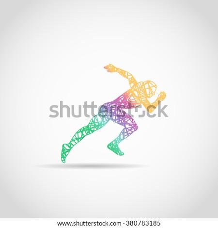 Runner logo in rainbow colors