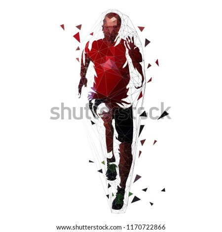 Runner, low polygonal vector illustration. Geometric sprinter, front view. Adult running man