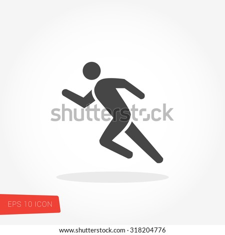 Runner, Running Isolated Flat Web Mobile Icon / Vector / Sign / Symbol / Button / Element / Silhouette