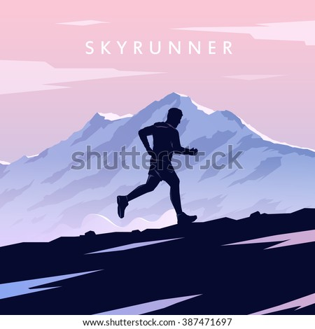 Runner silhouette. Skyrunning poster. Extreme sports. Vector Mountain landscape. Outdoor sports. #3