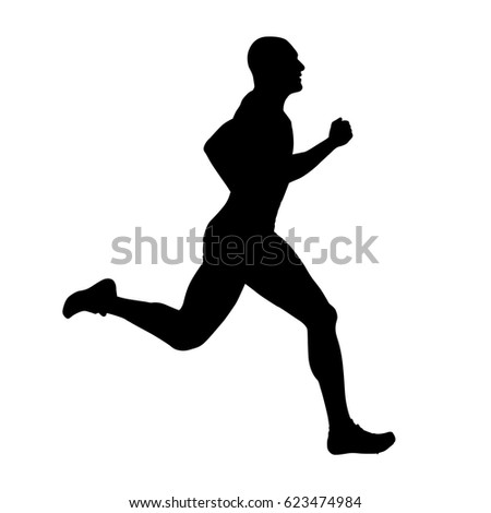 Runner vector silhouette, side view. Sprinting athlete