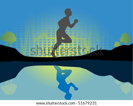 Runner with sunset and EKG - stock vector