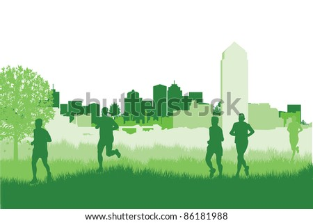 runners on a cityscape