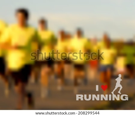 Runners on the race. People running marathon on street, sport and fitness vector blurred effect background. EPS10 vector file with transparency layers.