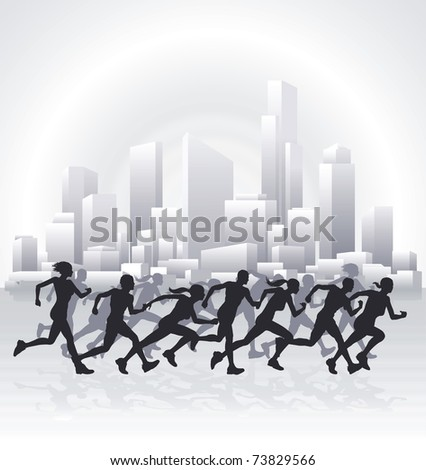 Runners running in an urban city with a cityscape skyline in the background.
