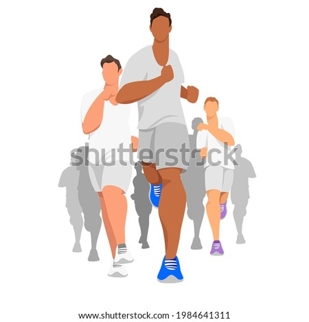 runners. vector illustration of running sports competitions. a group of athletic people in sports uniforms Photo stock ©