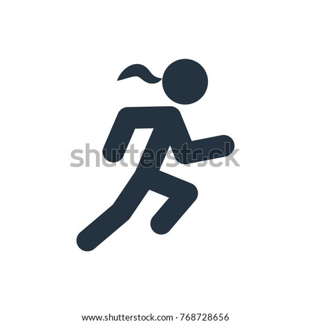 runnin woman icon on white background, fitness, sport