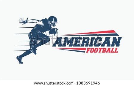 Running American football player logo silhouette, American Football logo