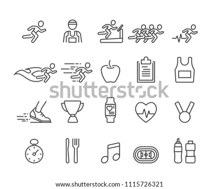 Running and Health icons set,Vector