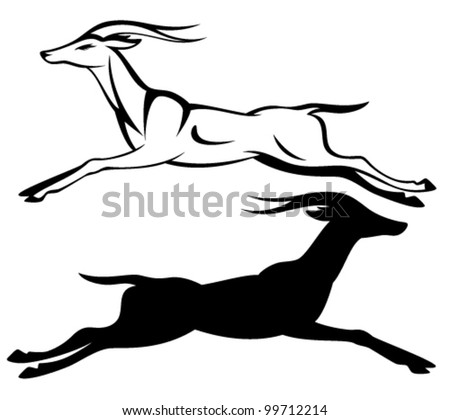 running antelope black and white vector outline