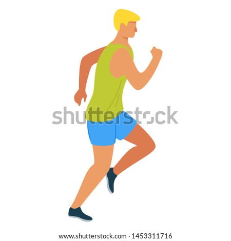 Running athlete flat vector illustration. Sprinter, runner, athletic man cartoon character. Young sportsman jogging.  Exercise and athletics. Sport training isolated design element