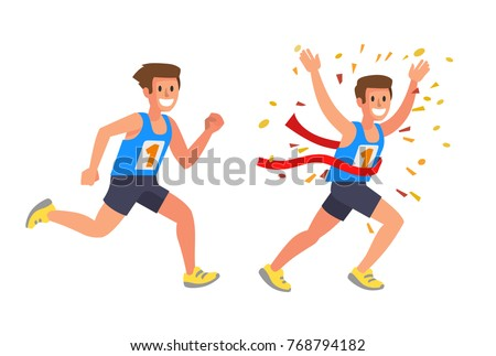 Running Athlete Sprinter man in Flat Vector style