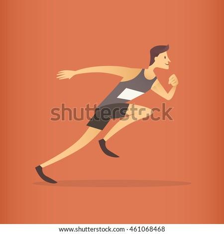 Running Athlete Sprinter Sport Competition Flat Vector Illustration #461068468