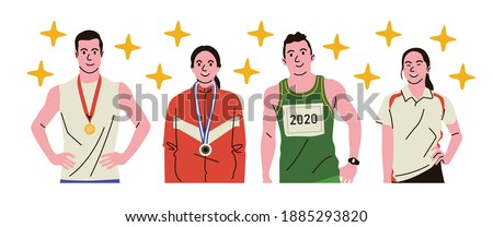 Running athletes try to win the race by being the fastest. ストックフォト ©
