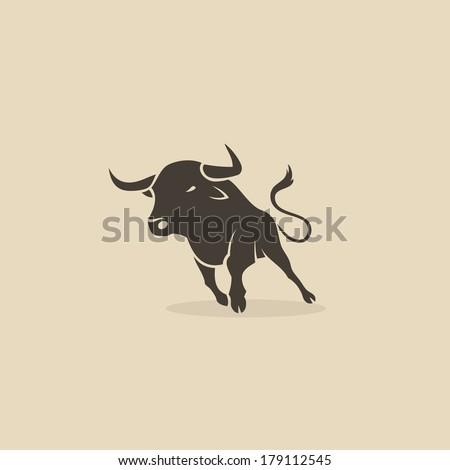Running bull - vector illustration